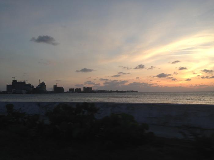 Sun sets.