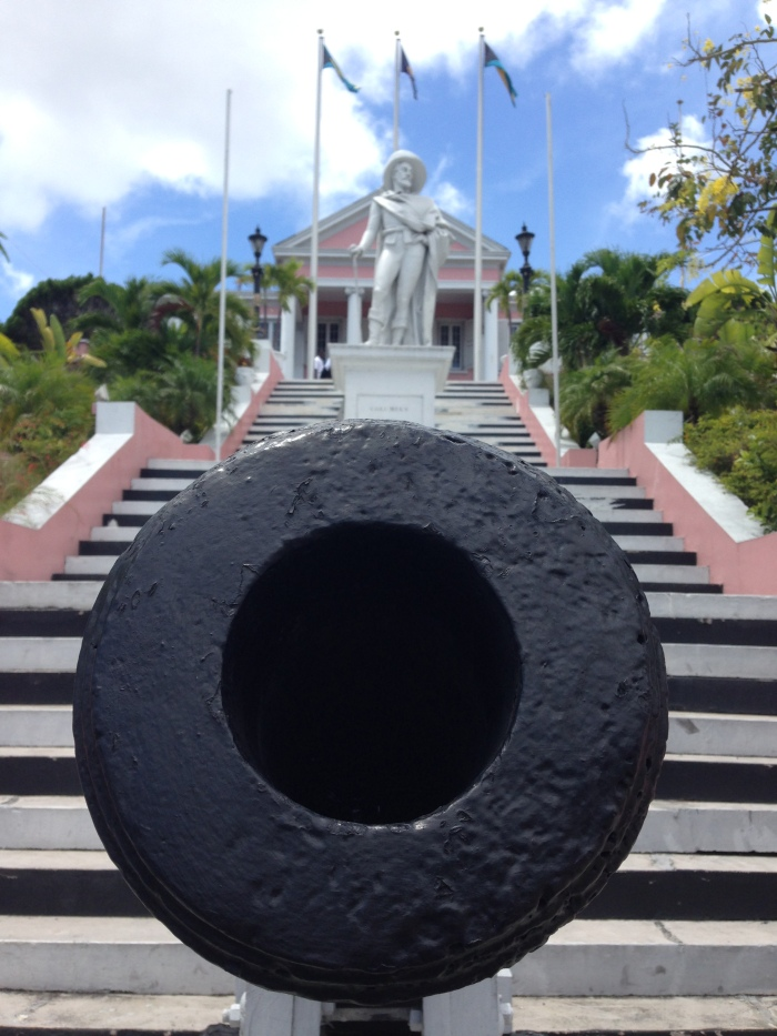 "Bahamian Independence came in 1973. Nassuvians will say, ""Yeah, we're young."" Columbus Day has been replaced by Heroes' Day (given he began the eradication of multiple indigenous populations when he sailed the ocean blue). The Government House, where the British delegate lives, still keeps his statue."