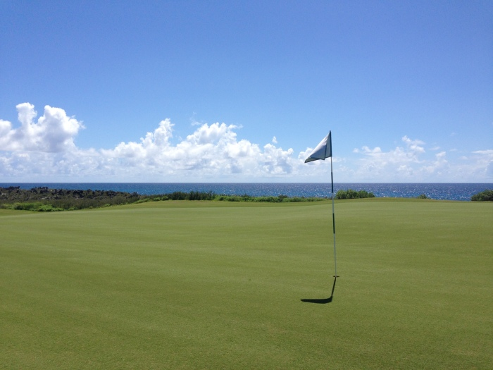One of the world's most beautiful golf holes, reportedly. I got to pick up the flag, it made my summer.
