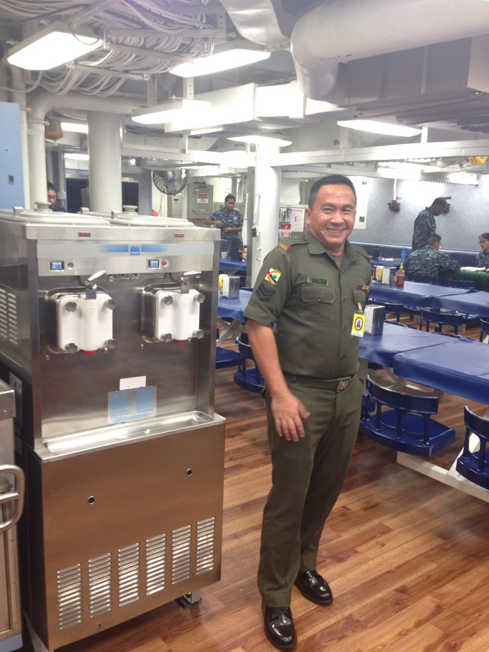 "Bruneian Sargent was /super/ excited about the soft serve machine in the galley. The touring officer actually said ""What's more American than ice cream"" and I was like wow do they serve it with hot fudge patriotism or wut"