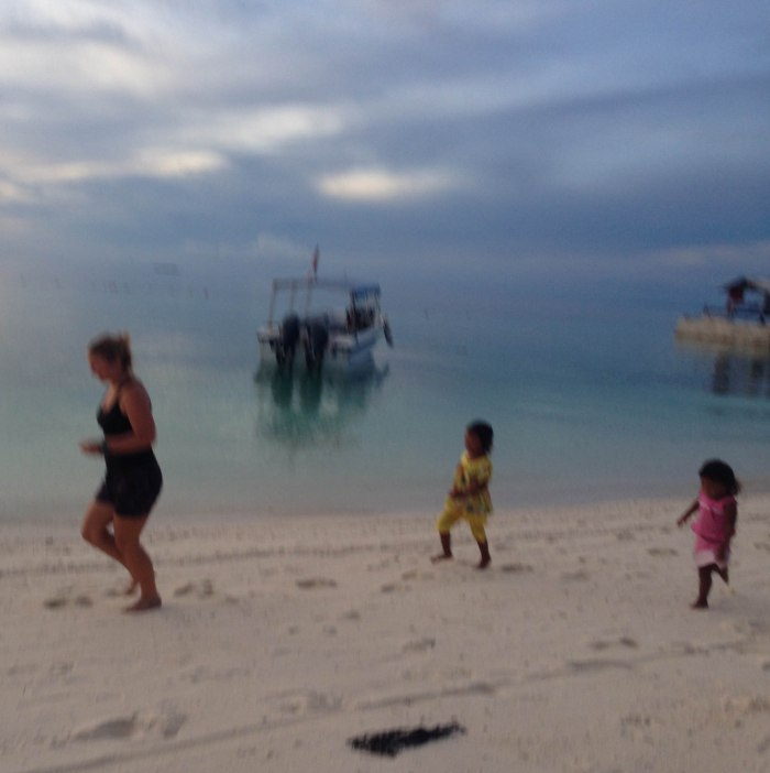 running to see the turtle release